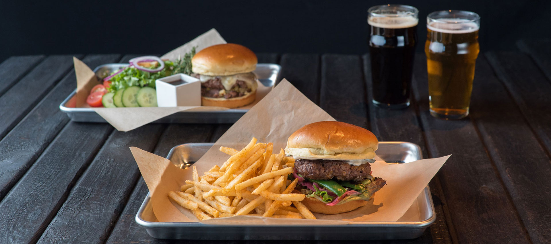 Charred - Chile Relleno Wagyu Burger + Hot Italian Beef Burger