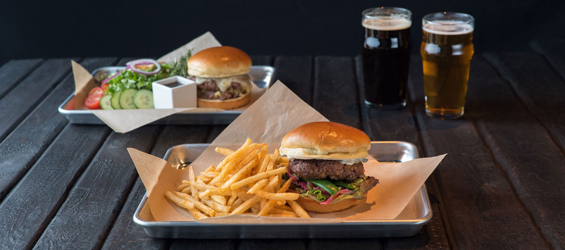 Charred - Hot Italian Beef Wagyu Burger + Chile Relleno Wagyu Burger